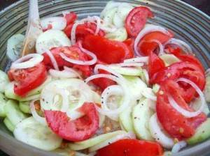 Cucumbers, Onions, and Tomatoes salad